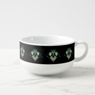 Pastel Geometrical Forms On Black Soup Mug