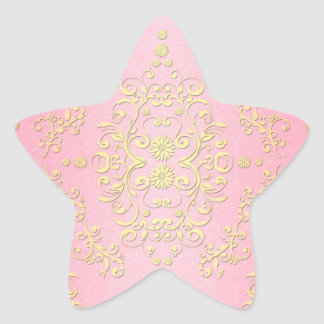 Pastel Girly Pink and Yellow Floral Damask Sticker