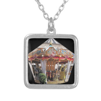 Pastel & Gold Floral Italian Carousel Pentagon Silver Plated Necklace