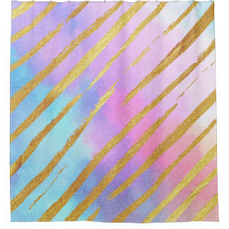 Pastel Gold Tiger Stripes Shower Curtain