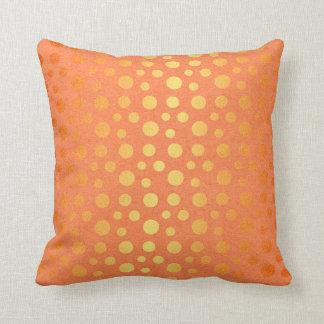 Pastel Golden Dots Confetti Kraft Orange Cushion
