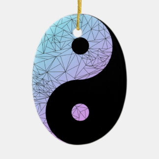 Pastel Gradient Yin Yang Ceramic Oval Decoration