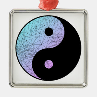 Pastel Gradient Yin Yang Silver-Colored Square Decoration