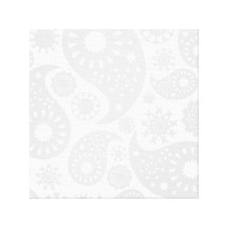 Pastel Gray and White Paisley Pattern Design. Canvas Print