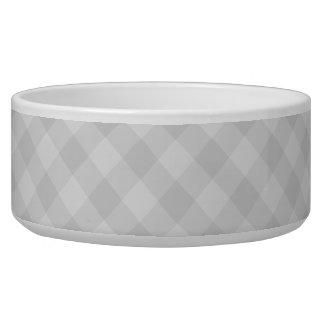 Pastel Gray Tartan Large Pet Bowl