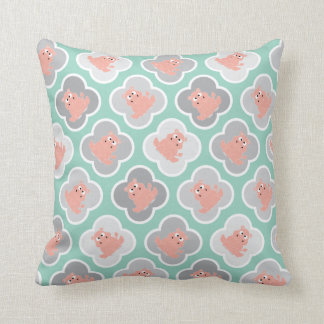 Pastel Green and Coral Pillow with Hippos