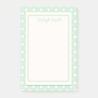 Pastel Green and White Polka Dots Post It Notes