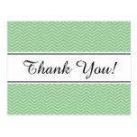 Pastel green chevron pattern thank you postcard