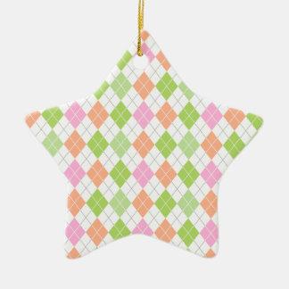 Pastel Green, Coral Orange, Pink, White Argyle Ceramic Star Decoration