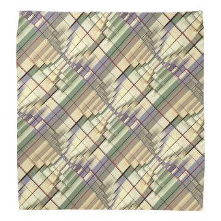Pastel Green Cream Gray Geometrical Retro Pattern Bandana