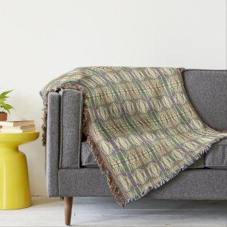 Pastel Green Cream Gray Geometrical Retro Pattern Throw Blanket