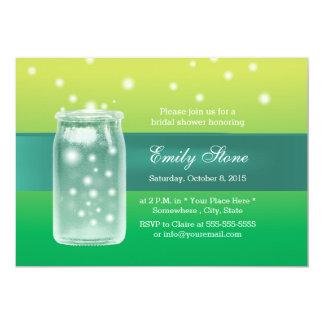 Pastel Green Fireflies & Mason Jar Bridal Shower Personalized Invitation