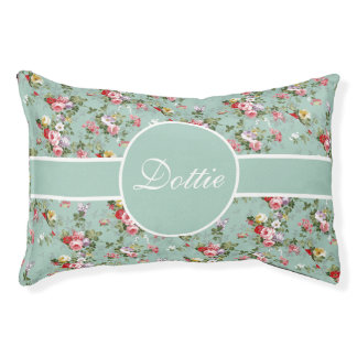 Pastel Green Floral Personalize Pet Bed