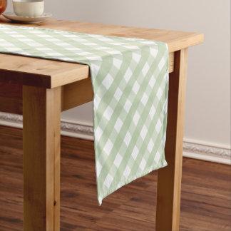 Pastel Green Gingham Check Pattern Short Table Runner