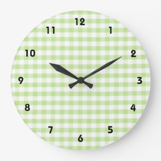 Pastel Green Gingham pattern Large Clock