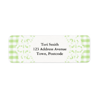 Pastel Green Gingham pattern Return Address Label