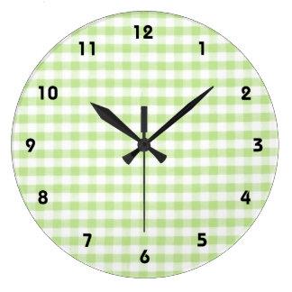 Pastel Green Gingham pattern Wall Clocks