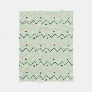 Pastel Green Hand Drawn Black & Pink Chevron Fleece Blanket