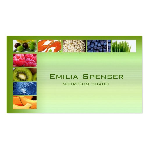 Pastel Green Healthy Life/Nutritionist Card Business Card Templates