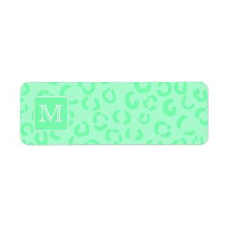 Pastel Green Leopard Print Custom Monogram.