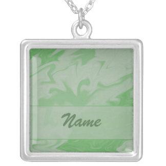 pastel Green Marblized Cloud template Square Pendant Necklace