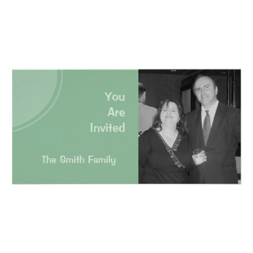 Pastel green mod party invite picture card