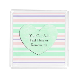 Pastel Green Pink Purple Personalized Tray