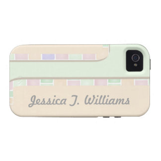 pastel green pink tile border Case-Mate iPhone 4 covers