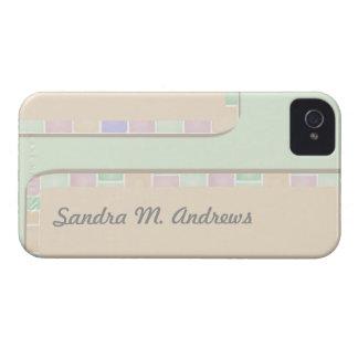 pastel green pink tile border Case-Mate iPhone 4 case