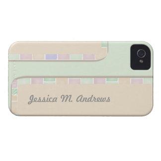 pastel green pink tile border iPhone 4 case