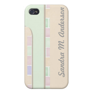 pastel green pink tile border iPhone 4/4S cover