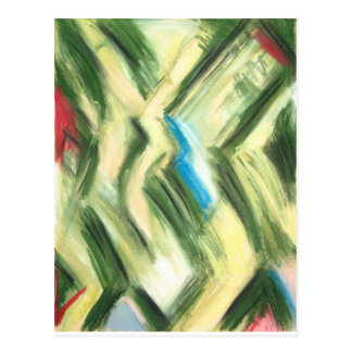Pastel Green Shrubs and Bushes (abstract cubism) Postcard