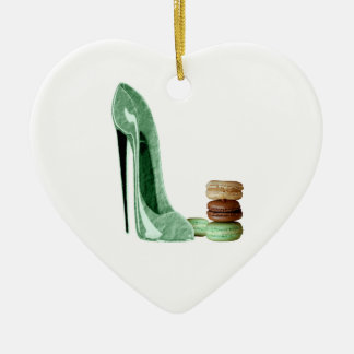Pastel Green Stiletto and French Macaroons Art Ceramic Heart Decoration