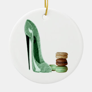 Pastel Green Stiletto and French Macaroons Art Christmas Ornament