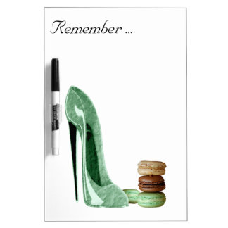 Pastel Green Stiletto and French Macaroons Art Dry Erase Board