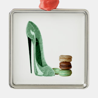 Pastel Green Stiletto and French Macaroons Art Silver-Colored Square Decoration