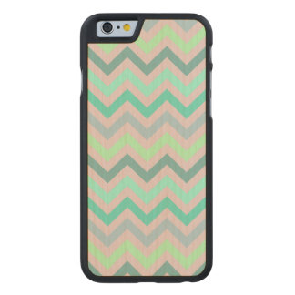 Pastel Green Teal Chevron Carved® Maple iPhone 6 Slim Case
