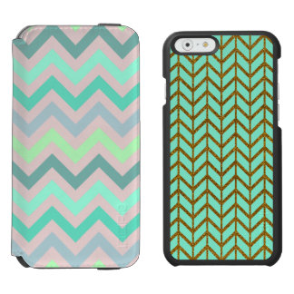 Pastel Green Teal Chevron Incipio Watson™ iPhone 6 Wallet Case