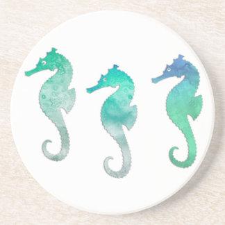 Pastel Green Watercolor Seahorses Coaster