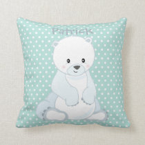 Pastel Green-White PolkaDot•Baby Polar Bear•Custom Cushion