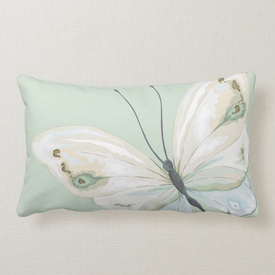 Pastel Green with Butterfly Throw Pillow