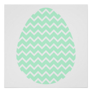 Pastel Green Zigzag Easter Egg. Print