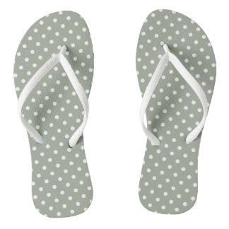 Pastel Grey And White Polka Dot Pair of Flip Flops