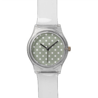 Pastel Grey And White Polka Dot Pattern Watch