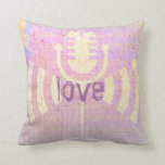 Pastel Grunge Love Music Pink Yellow Cushion Throw Pillow