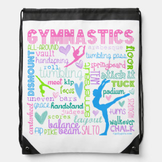 Pastel Gymnastics Words Typography Drawstring Bag