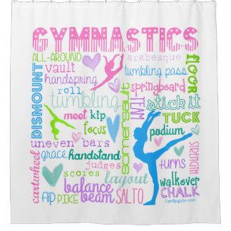 Pastel Gymnastics Words Typography Shower Curtain