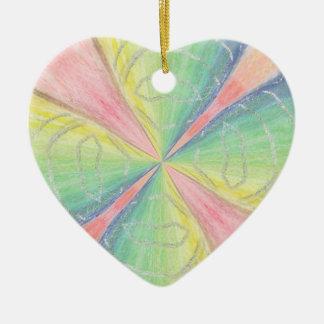 Pastel Heart Decoration for Christmas Ceramic Heart Decoration