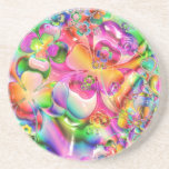 Pastel Hearts, Flowers and Clovers in Abstract For Coasters