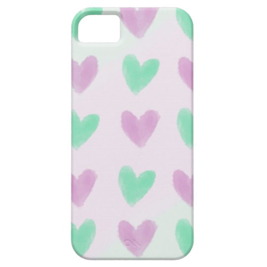 Pastel Hearts Pattern Barely There iPhone 5 Case